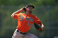 Baltimore Orioles pitcher Reed Hayes (35) during a Minor League Spring Training game against the Pittsburgh Pirates on April 21, 2021 at Pirate City in Bradenton, Florida.  (Mike Janes/Four Seam Images)