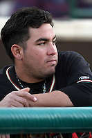 Juan Gonzalez #47 of the Modest Nuts before a game against the Inland Empire 66'ers at San Manuel Stadium on April 16, 2012 in San Bernardino,California. Inland Empire defeated Modesto 4-3.(Larry Goren/Four Seam Images)