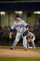 Jacksonville Jumbo Shrimp relief pitcher Tyler Stevens (33) during a Southern League game against the Mobile BayBears on May 7, 2019 at Hank Aaron Stadium in Mobile, Alabama.  Mobile defeated Jacksonville 2-0.  (Mike Janes/Four Seam Images)