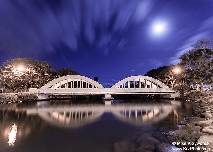 Anahulu Stream Bridge at night in Haleiwa, North Shore, O'ahu.