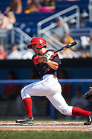 Batavia Muckdogs second baseman Mike Garzillo (11) at bat during a game against the Auburn Doubledays on September 5, 2016 at Dwyer Stadium in Batavia, New York.  Batavia defeated Auburn 4-3. (Mike Janes/Four Seam Images)