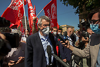 Maurizio Landini, Cgil General Secretary. . <br /> <br /> Rome, Italy. 01st June, 2021. Today, Italian local public transport workers (buses, trams and subways) of the Trade Unions Filt Cgil, Fit Cisl, Uiltrasporti, Faisa Cisal, Ugl Autoferro, Fna Autoferrotranvieri went on a 24-hour national strike to call the Government - led by Prime Minister Mario Draghi - the immediate renewal of the National Collective Contract which had expired more than three years ago. The photos in this story were taken outside the Ministry of Transport in Rome's near Porta Pia were a rally was held with the partecipation, amongts others, of the Cgil General Secretary, Maurizio Landini.   <br /> <br /> Footnotes & Links:<br /> CGIL: http://cgil.it/ & https://bit.ly/2E1Al5a (Wikipedia)<br /> CISL: https://www.cisl.it /& https://bit.ly/2tj5Txa (Wikipedia)<br /> UIL: http://www.uil.it/ & https://bit.ly/2Glf88D (Wikipedia)