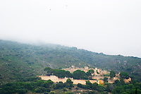 The old chateau Castellas of Montpeyroux. Montpeyroux. Languedoc. The ruins of a chateau fortress. Chateau de Castellas ruin. France. Europe.