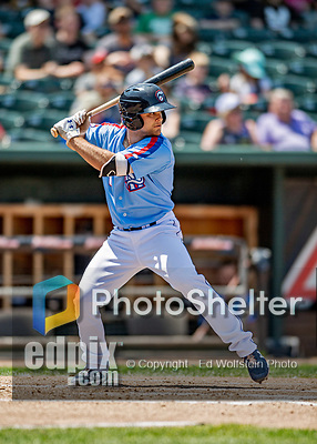 23 June 2019: New Hampshire Fisher Cats infielder Vinny Capra at bat against the Trenton Thunder at Northeast Delta Dental Stadium in Manchester, NH. The Thunder defeated the Fisher Cats 5-2 in Eastern League play. Mandatory Credit: Ed Wolfstein Photo *** RAW (NEF) Image File Available ***