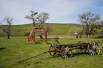 Old wagon and doorway ruins, Hornitos, Calif.