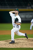 Charlotte 49ers relief pitcher Patrick Szczypinski (25) in action against the Clemson Tigers at BB&T BallPark on March 26, 2019 in Charlotte, North Carolina. The Tigers defeated the 49ers 8-5. (Brian Westerholt/Four Seam Images)