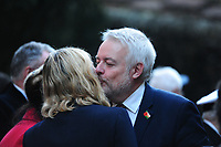 Pictured: Carwyn Howell Jones, First Minister of Wales at Llandaff Cathedral, Cardiff, Wales, UK.  Sunday 11 November 2018<br /> Re: Commemoration for the 100 years since the end of the First World War on Remembrance Day at the Llandaff Cathedral, in Llandaff, Cardiff, Wales, UK.