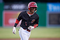 Batavia Muckdogs second baseman Gerardo Nunez (1) rounds the bases after hitting a home run in the bottom of the seventh inning during a game against the West Virginia Black Bears on June 20, 2018 at Dwyer Stadium in Batavia, New York.  West Virginia defeated Batavia 4-3.  (Mike Janes/Four Seam Images)
