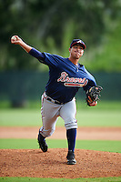 GCL Braves relief pitcher Gilbert Suarez (12) during a game against the GCL Phillies on August 3, 2016 at the Carpenter Complex in Clearwater, Florida.  GCL Phillies defeated GCL Braves 4-3 in a rain shortened six inning game.  (Mike Janes/Four Seam Images)
