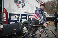 US CX national champion Jeremy Powers (USA/Rapha-Focus) getting ready for the race<br /> <br /> 2016 CX UCI World Cup Zeven (DEU)
