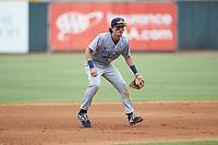 Pensacola Blue Wahoos shortstop Jordan Gore (10) on defense against the Birmingham Barons at Regions Field on July 7, 2019 in Birmingham, Alabama. The Barons defeated the Blue Wahoos 6-5 in 10 innings. (Brian Westerholt/Four Seam Images)