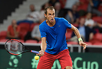 The Hague, The Netherlands, September 17, 2017,  Sportcampus , Davis Cup Netherlands - Chech Republic, Fifth match : Lukas Rosol (CZE)<br /> Photo: Tennisimages/Henk Koster