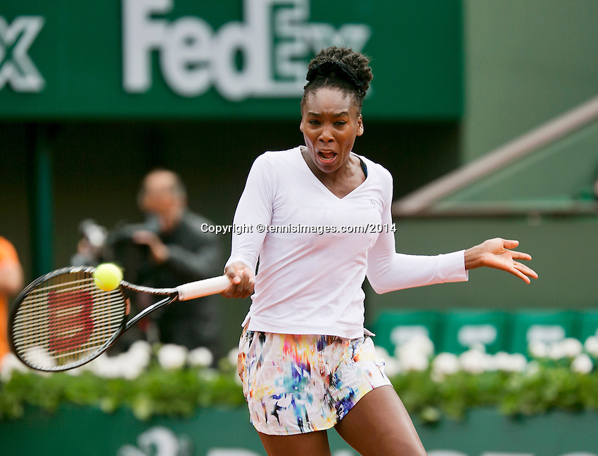 France, Paris, 28.05.2014. Tennis, French Open, Roland Garros, Venus Williams (USA) in action in her match against Schmiedlova (SVK)<br /> Photo:Tennisimages/Henk Koster