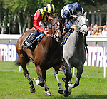 Elusive Kate (no. 1), ridden by William Buick and trained by John Gosden, wins the group 1 Falmouth Stakes for fillies and mares three years old and upward on July 12, 2013 at Newmarket Racecourse in Newmarket, Suffolk, United Kingdom.  (Bob Mayberger/Eclipse Sportswire)