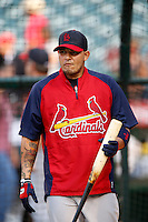Yadier Molina #4 of the St. Louis Cardinals before a game against the Los Angeles Angels at Angel Stadium on July 3, 2013 in Anaheim, California. (Larry Goren/Four Seam Images)