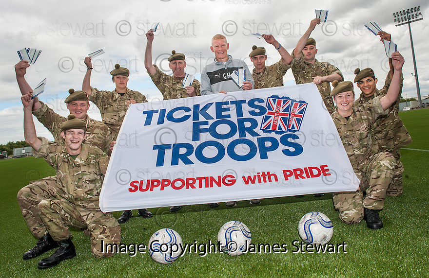 Falkirk manager Gary Holt launches the Tickets for Troops giveaway.