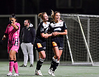 Aalst's Daisy Baudewijns pictured celebrating with Aalst's Margaux Van Ackere after scoring a goal during a female soccer game between Sporting Charleroi and Eendracht Aalst on the 8th  matchday of the 2020 - 2021 season of Belgian Scooore Womens Super League , friday 20 th of November 2020  in Marcinelle , Belgium . PHOTO SPORTPIX.BE | SPP | DAVID CATRY