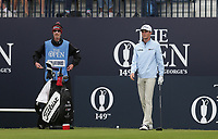 14th July 2021; The Royal St. George's Golf Club, Sandwich, Kent, England; The 149th Open Golf Championship, practice day; Will Zalatoris (USA) with his caddie on the first tee