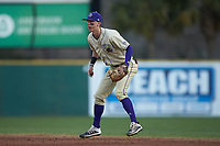 Western Carolina Catamounts second baseman Will Prater (5) on defense against the Saint Joseph's Hawks at TicketReturn.com Field at Pelicans Ballpark on February 23, 2020 in Myrtle Beach, South Carolina. The Hawks defeated the Catamounts 9-2. (Brian Westerholt/Four Seam Images)
