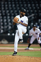 Winston-Salem Dash relief pitcher Yoelvin Silven (25) in action against the Bowling Green Hot Rods at Truist Stadium on September 7, 2021 in Winston-Salem, North Carolina. (Brian Westerholt/Four Seam Images)