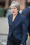 © Joel Goodman - 07973 332324 . 02/10/2017. Manchester, UK. Prime Minister THERESA MAY leaves the Midland Hotel at the start of the second day of the Conservative Party Conference at the Manchester Central Convention Centre . Photo credit : Joel Goodman