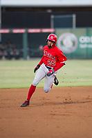 AZL Angels designated hitter Jordon Adell (25) hustles towards third base against the AZL White Sox on August 14, 2017 at Diablo Stadium in Tempe, Arizona. AZL Angels defeated the AZL White Sox 3-2. (Zachary Lucy/Four Seam Images)