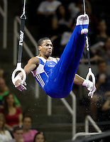 Joshua Dixon of USOTC competes on the rings during the 2012 US Olympic Trials competition at HP Pavilion in San Jose, California on June 28th, 2012.