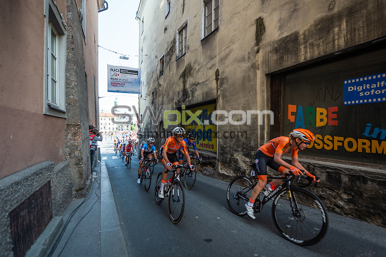 Picture by Richard Blaxall/SWpix.com - 29/09/2018 - Cycling 2018 Road Cycling World Championships Innsbruck-Tirol, Austria - Women's Elite Road Race - Anna van der Breggen of the Netherlands at the front of the Peloton