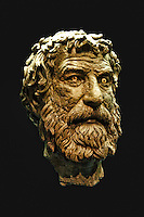 Portrait head of a bronze statue of a philosopher from the Antikythera shipwreck (240 B.C.) in National Museum, Greece