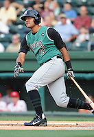 Third baseman Chris Dominguez (19) of the Augusta GreenJackets, Class A affiliate of the San Francisco Giants, in a game against the Greenville Drive on May 20, 2010, at Fluor Field at the West End in Greenville, S.C. Dominguez is a 2009 third-round draft pick. Photo by: Tom Priddy/Four Seam Images