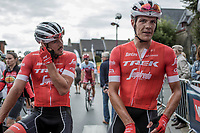 Teammates John Degenkolb (DEU/Trek Segafredo) and Jasper Stuyven (BEL/Trek Segafredo) after finishing 2nd and 3th.<br /> <br /> 103th Kampioenschap van Vlaanderen 2018 (UCI 1.1)<br /> Koolskamp – Koolskamp (186km)