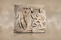 Roman relief sculpture of the Myth of Adonis. Roman 2nd century AD, Hierapolis Theatre.. Hierapolis Archaeology Museum, Turkey. Against an art background