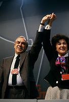 Le congres du NPD, mars 1987 au Palais des congres. Shirley Carr<br /> <br /> Montreal (Qc) Canada  file Photo -  march 14, 1987 - NDP national convention in Montreal -- Ed Broadbent, New Democratic Party  (NPD) Leader (L) and Shirley Carr