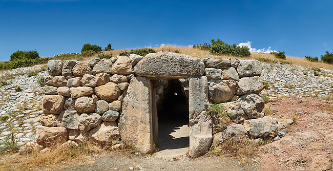 Picture & image of the tunnel under the Sphinx Gate. Hattusa (also Ḫattuša or Hattusas) late Anatolian Bronze Age capital of the Hittite Empire. Hittite archaeological site and ruins, Boğazkale, Turkey.