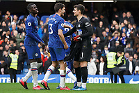 Chelsea's Kepa Arrizabalaga celebrates his sides with with teammate Marcos Alonso<br /> <br /> Photographer Stephanie Meek/CameraSport<br /> <br /> The Premier League - Chelsea v Everton - Sunday 8th March 2020 - Stamford Bridge - London<br /> <br /> World Copyright © 2020 CameraSport. All rights reserved. 43 Linden Ave. Countesthorpe. Leicester. England. LE8 5PG - Tel: +44 (0) 116 277 4147 - admin@camerasport.com - www.camerasport.com