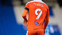 Blackpool's Jerry Yates wearing a black armband in tribute to Warren Green, Blackpool's academy manager, who died aged 46<br /> <br /> Photographer Chris Vaughan/CameraSport<br /> <br /> The EFL Sky Bet League One - Peterborough United v Blackpool - Saturday 21st November 2020 - London Road Stadium - Peterborough<br /> <br /> World Copyright © 2020 CameraSport. All rights reserved. 43 Linden Ave. Countesthorpe. Leicester. England. LE8 5PG - Tel: +44 (0) 116 277 4147 - admin@camerasport.com - www.camerasport.com