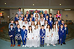 Lissivigeen NS pupils at their First Holy Communion in Church of the Ressurection on Saturday with Fr Kieran O'Brien Principal Conor Gleeson, Past pupil Mike McAulliffe with Olivia Coleman and Robert Fell teachers