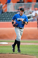 Hudson Valley Renegades first baseman Brendan McKay (38) jogs off the field between innings of the game against the Aberdeen IronBirds at Leidos Field at Ripken Stadium on July 27, 2017 in Aberdeen, Maryland.  The Renegades defeated the IronBirds 2-0 in game one of a double-header.  (Brian Westerholt/Four Seam Images)