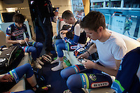 Bjorn Thurau (DEU/Wanty-Groupe Gobert) getting ready inside the WGG teambus at the start<br /> <br /> 102nd Liège-Bastogne-Liège 2016