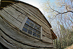 Historic cabin in Cades Cove, Smoky Mountains National Park, Tennessee, as seen through a fisheye lens
