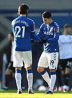 9th January 2021; Goodison Park, Liverpool, Merseyside, England; English FA Cup Football, Everton versus Rotherham United; Andre Gomes of Everton high fives team mate James Rodriguez