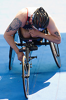 31 MAY 2014 - LONDON, GBR - Phil Hogg (GBR) of Great Britain recovers after finishing the 2014 ITU World Triathlon Series PT1 paratriathlon in Hyde Park in London, Great Britain (PHOTO COPYRIGHT © 2014 NIGEL FARROW, ALL RIGHTS RESERVED)