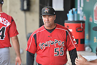 Albuquerque Isotopes manager Damon Berryhill (55)  during the game against the Salt Lake Bees at Smith's Ballpark on May 21, 2014 in Salt Lake City, Utah.  (Stephen Smith/Four Seam Images)