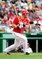 5 July 2009: Washington Nationals' outfielder Adam Dunn in action against the Atlanta Braves at Nationals Park in Washington, DC. The Nationals defeated the Braves 5-3 to take the rubber game of their 3-game weekend series. Mandatory Credit: Ed Wolfstein Photo