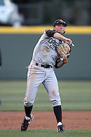 Carter Bell #2 of the Oregon State Beavers throws to first base against the UCLA Bruins at Jackie Robinson Stadium in Los Angeles,California on April 29, 2011. Photo by Larry Goren/Four Seam Images
