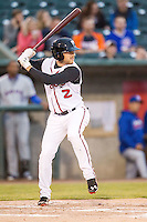 Lansing Lugnuts shortstop Gunnar Heidt (2) at bat against the South Bend Cubs on May 12, 2016 at Cooley Law School Stadium in Lansing, Michigan. Lansing defeated South Bend 5-0. (Andrew Woolley/Four Seam Images)