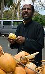 MUS, Mauritius, Pamplemousses: Sir Seewoosagur Ramgoolam Botanischer Garten - Haendler mit Kokosnuessen und Ananas | MUS, Mauritius, Pamplemousses: Sir Seewoosagur Ramgoolam Botanic Garden - man selling coconuts and pineapples