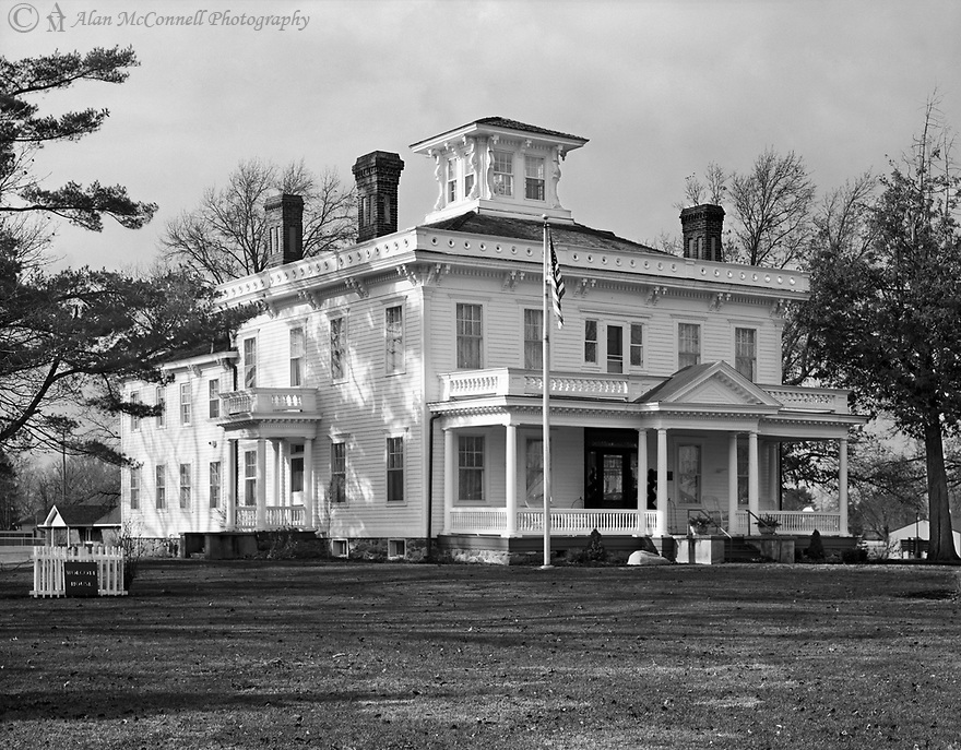 The Historic Wolcott House<br /> <br /> The construction of this beautiful old home was completed shortly after the Civil War by Anson Wolcott in the town that he founded.  The many fine architectural features of this home gives it a classic look.     <br /> <br /> Toyo 45A large format camera, 210mm lens, f16 @1/125s exposure, FP4 film, wet-mount scanned Epson V750, finished in PS.