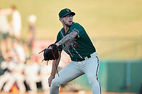 Greensboro Grasshoppers relief pitcher Austin Roberts (27) in action against the Hudson Valley Renegades at First National Bank Field on September 2, 2021 in Greensboro, North Carolina. (Brian Westerholt/Four Seam Images)