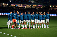 ORLANDO, FL - FEBRUARY 24: Argentina stands for the national anthem before a game between Argentina and USWNT at Exploria Stadium on February 24, 2021 in Orlando, Florida.